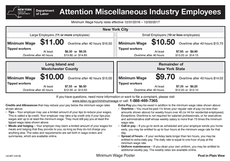 What Is The Minimum Wage In New York City >> New York Releases 2017 Minimum Wage Posting Compliance Poster Company