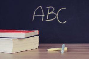 """""""ABC"""" written on chalkboard"""