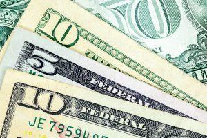 Five and ten-dollar bills